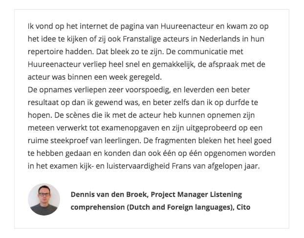 Dennis van den Broek Cito aanbeveling native acteurs